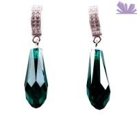Cercei Argint Pear Emerald