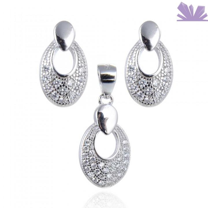 Set argint cercei si pandant Royality 1.1 cm 2.2 cm