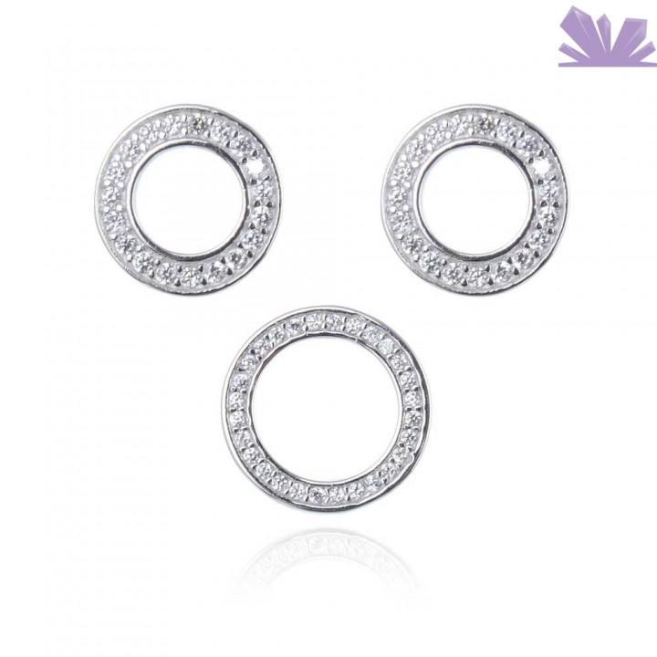 Set argint cercei si pandant Crystal Abyss 0.9 cm 1.3 cm
