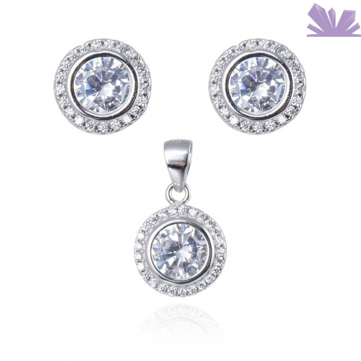 Set argint cercei si pandant Luxury Dream 1 cm 1.8 cm