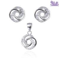 Set argint cercei si pandant Twisted Flower 0.9 cm 1.7 cm