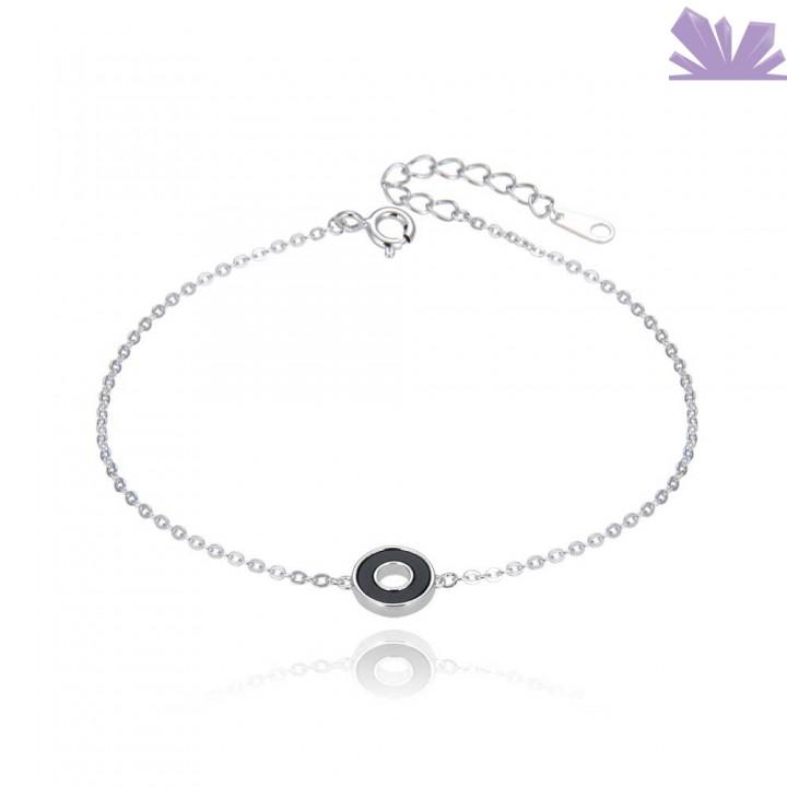 Bratara argint Inner Circle Black 19 cm