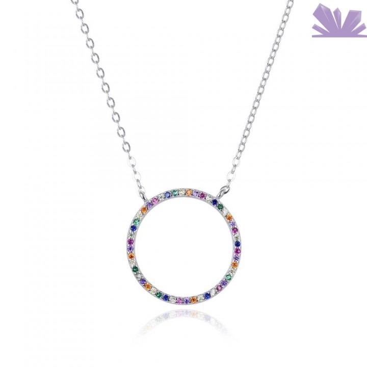 Lantisor argint Colorful Aura 46 cm