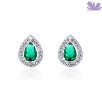 Cercei argint Emerald Teardrop 1 cm