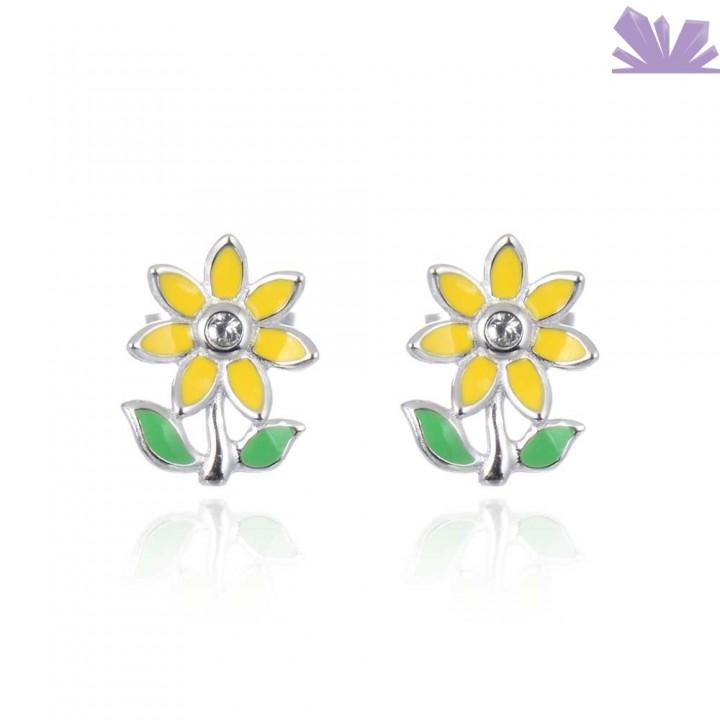 Cercei argint Sunflower 1.1 cm