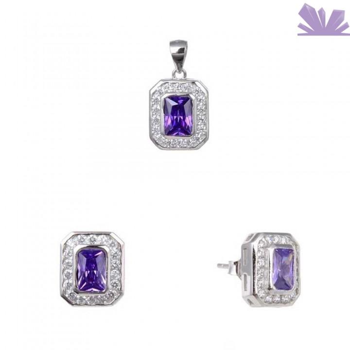 Set argint 925 cercei si pandant Deep Purple 11 mm
