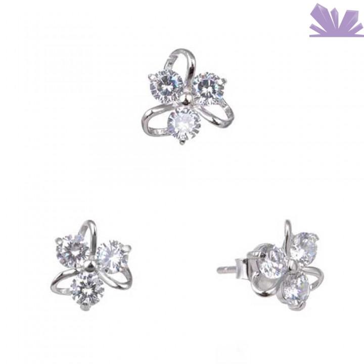 Set argint 925 cercei si pandant White Flower 8 mm