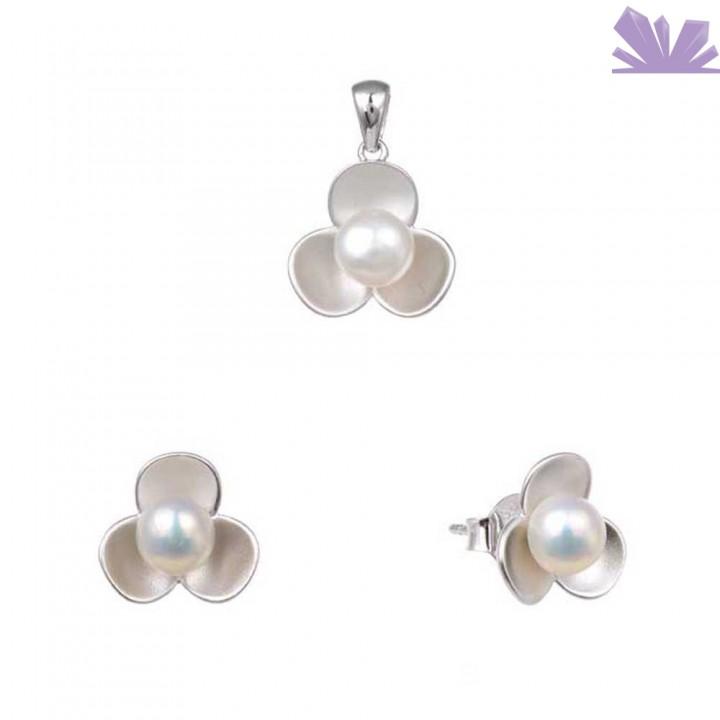 Set argint 925 cercei si pandant Water Lily 9 mm