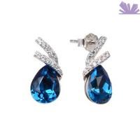 Cercei argint 925 si Cristale Swarovski Ocean Blue 14 mm
